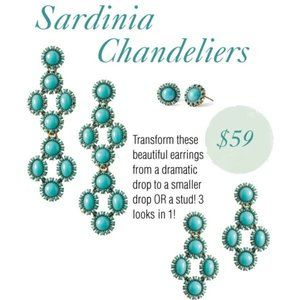 Stella & Dot Turquoise Sardinia 3 in 1 Earrings